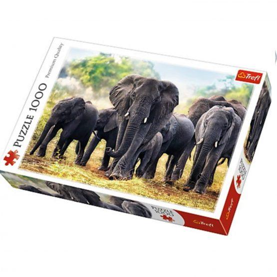 Puzzle-Éléphants d'Afrique-1000 Pièces