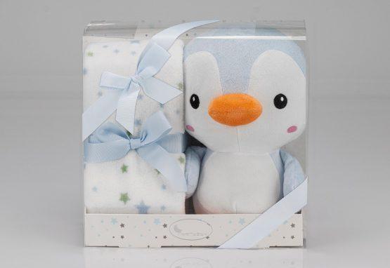 Couverture + Peluche pingouin